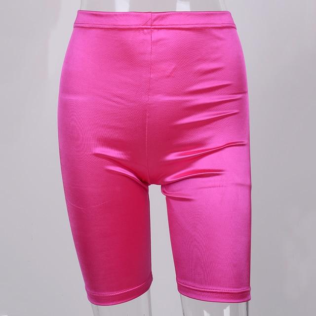NewAsia Neon Biker Shorts Women 2019 New Solid Color Spandex Elastic High Waist Shorts Pink Sexy Bodycon Summer Shorts Black Red 5