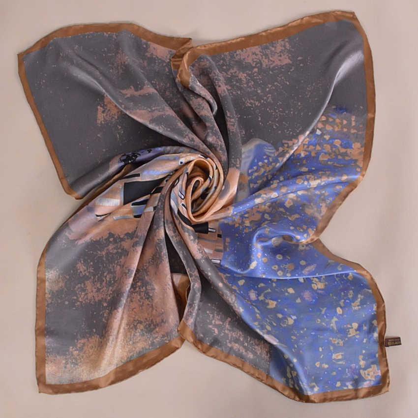 Inverno Accessori Khaki Piazza Sciarpe Stampate Per Gli Amanti 100% Natural Sciarpa di Seta di Modo Delle Signore Stampato 90*90cm Autunno sciarpe