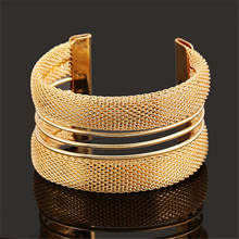 PINIYA Drop Shipping New Multilayer Gold Color Open Wide Style Cuff Bracelet Bangle Jewelry For Men Women Gift