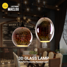 Modern Pendant Light 3D Colorful E27 LED Glass Lamp Hanging Light Fixtures Dining Room Kitchen Light Restaurant Indoor Lighting