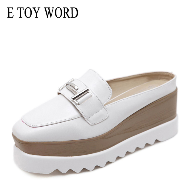 E TOY WORD 2019 Spring Summer High heel Slippers Square Toe wedge Thick Bottom sandals Wild metal button leather slippers women