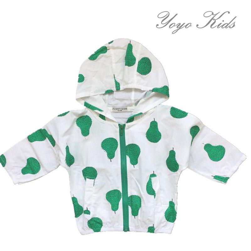 144491f74 Bobo Choses Verão Design de Moda Do Bebê Morango Pluma Artista Pear Zip  Casacos de Proteção Solar Ar Condicionado Blazer