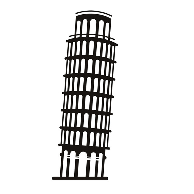 Dinding Sticker Italia Menara Miring Pisa Bangunan Landmark Ruang Tamu Rumah Dekorasi Vinyl Mural