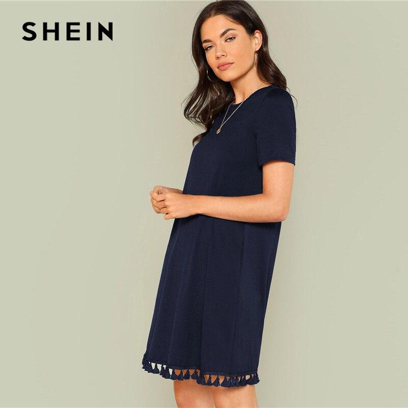 SHEIN Tassel Hem Side Pocket Tee Dress Women's Shein Collection