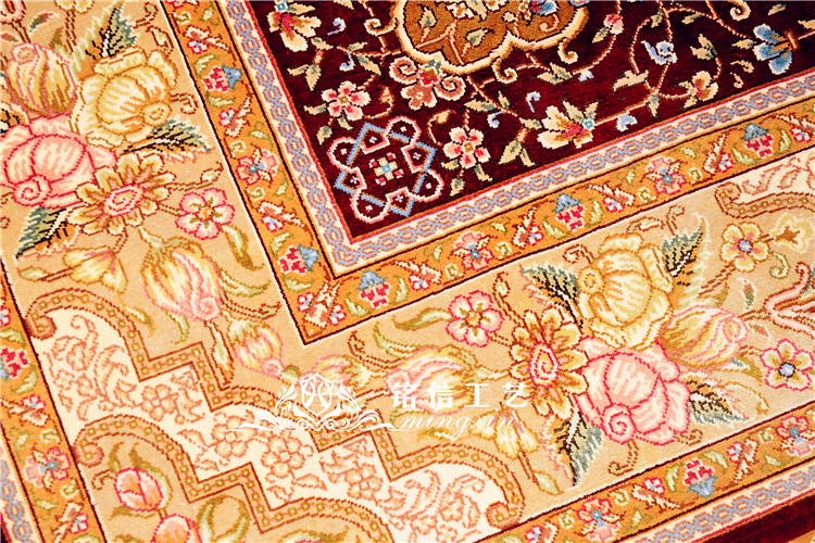 5'x7. 5' tapis de soie persan rouge noué à la main tapis Oriental fait main - 2