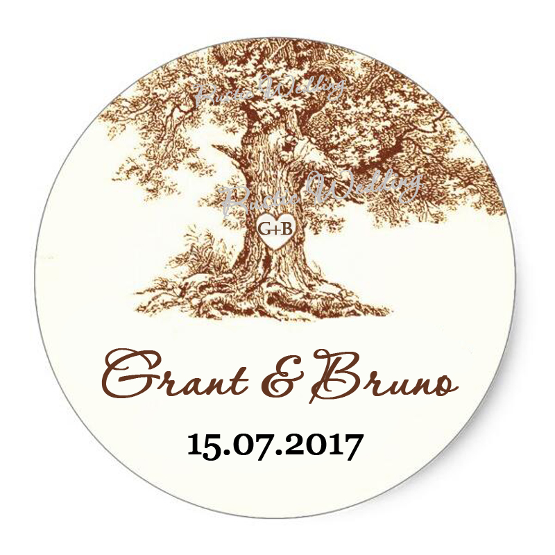 Personalized Circle Round Stickers The Tree Wedding Collection Clic Custom Sticker Labels Customized Name And Date In Gift Bags Wring