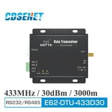 433 MHz RS232 RS485 transceptor inalámbrico de CDSENET E62 DTU 433D30 30dBm 3km completo y doble de largo alcance, 433 MHz FHSS Módulo de radiofrecuencia