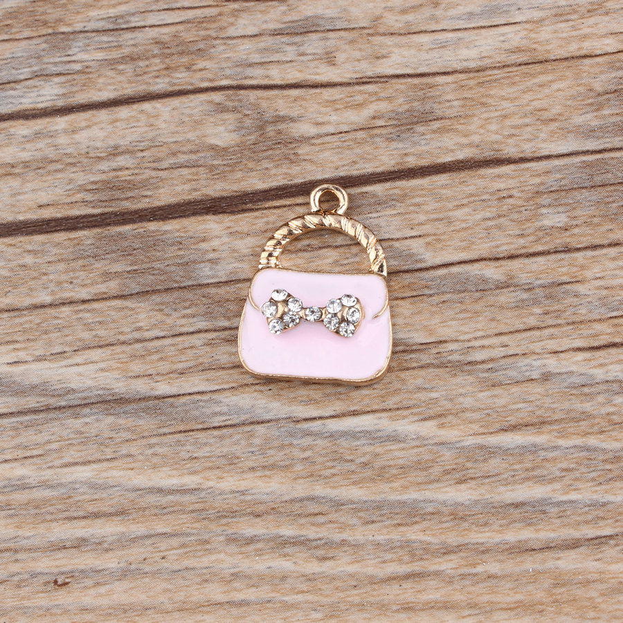 MRHUANG 10pcs/lot Bow Rhinestone Lady bag Enamel Charms Fit DIY Bracelet Necklace Hair Jewelry Accessory DIY Craft