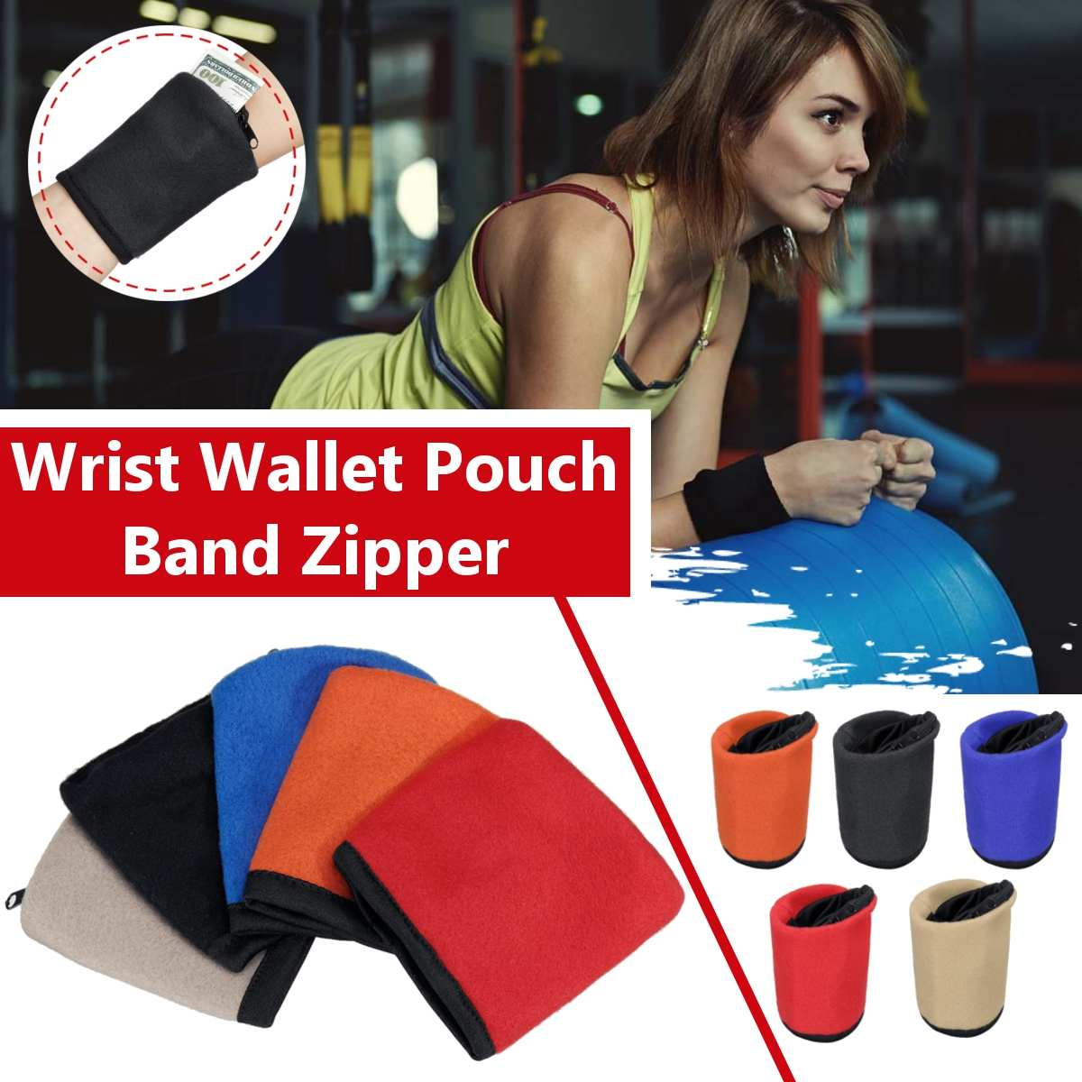 Fashion New Men Women Wrist Wallet Pouch Band Zipper Running Travel Gym Cycling Safe Coin Purse Change Sport Bag  Male