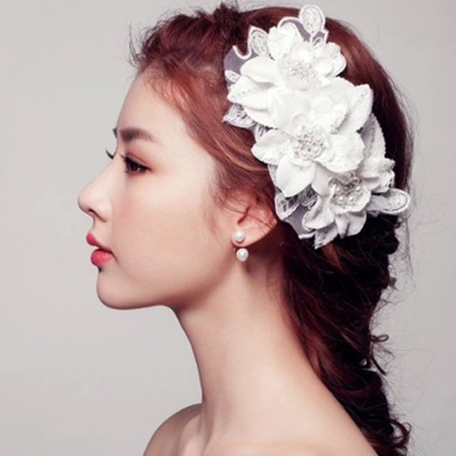 Fashion Pearl Headdress Romantic Lace Hairwear Flower Wedding Bride Hair Accessories Hair Comb Hair Clip Party Jewelry