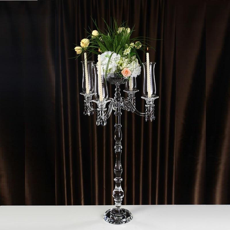 106 см высокие съемные канделябры Уникальный Свадебный Стол Центральным 5 arms Хрустальный цветок подставки дома аксессуары