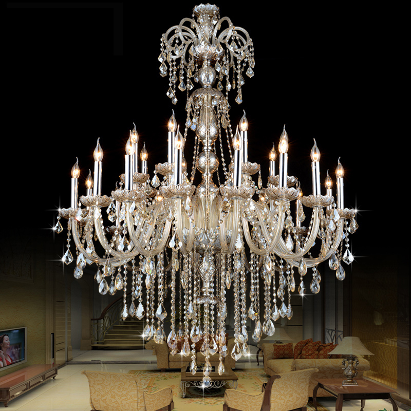 Good modern crystal round chandelier lustre lamps modern for Lustre baroque noir