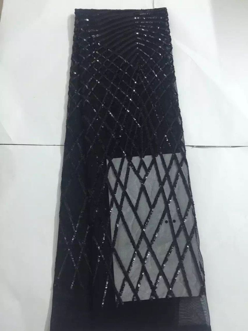 2019 high quality african sequins lace French tulle Lace Fabric For Wedding Embroidery african beads lace fabric 5y CX888 in Fabric from Home Garden