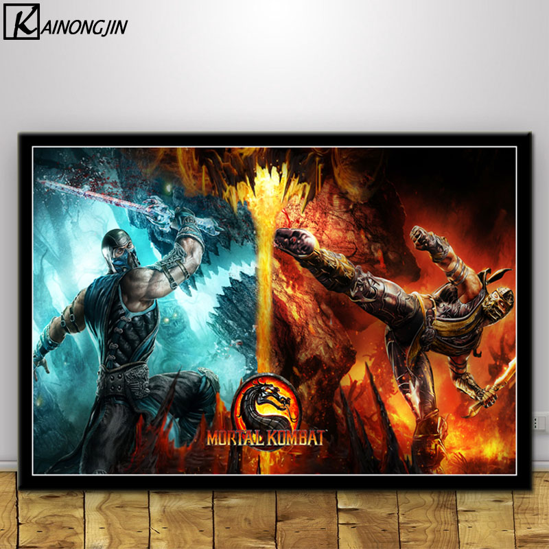 US $2 82 48% OFF|Wall Art Poster Mortal Kombat Scorpion Fighting Game  Canvas Painting Room Decorative Home Decor Posters and Prints-in Painting &