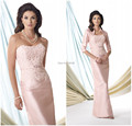 Hot 2016 Free-Shipping Mermaid Satin two-piece Pink women lace Mother of the Bride Dresses the mother of the groom with Jacket