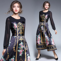 2017 Women S Dress Early Autumn Collection Of Women S Wear Vintage Court Printed Female Dress