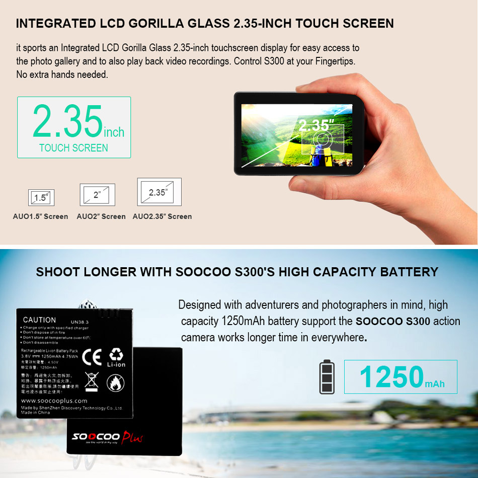 Soocoo S300 action camera 4k 30FPS 2.35 Touchscreen wifi microphone GPS Mic remote control case camera sport camera 4k - 4