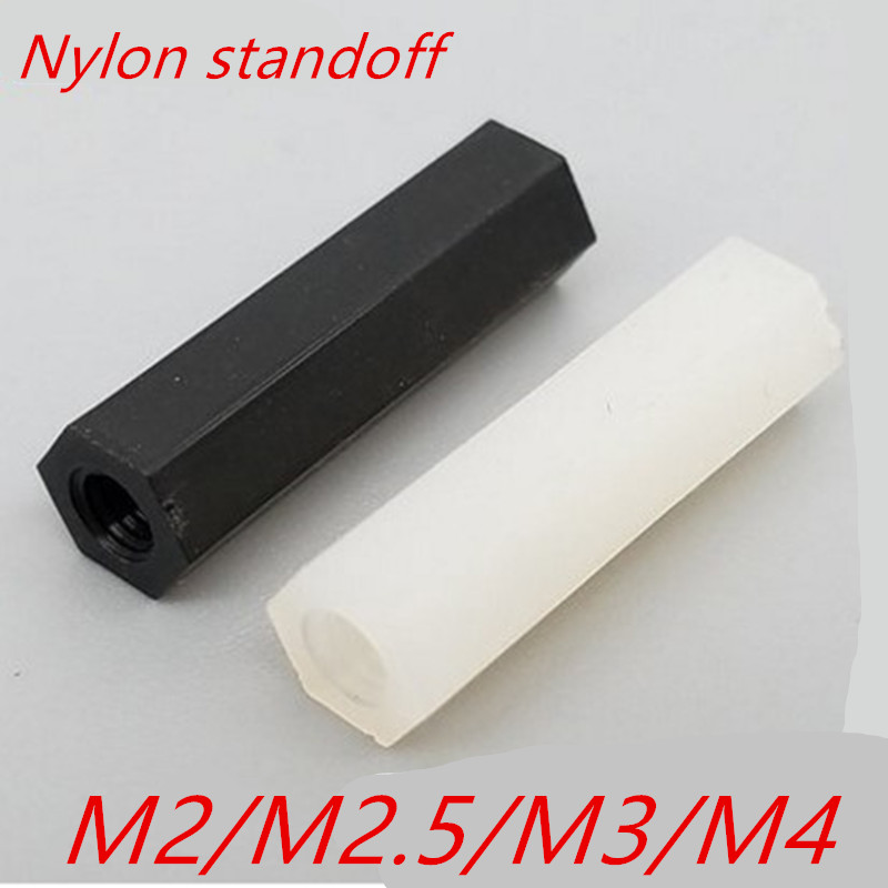 50PCS 20pcs M2 M2.5 M3 M4 white or black Hex Nylon Standoff Spacer Column Flat Head Double Pass Nylon Plastic Spacing Screws