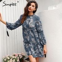 Simplee Boho Floral Print Tassel Women Dress Autumn Winter Long Sleeve Ruffle Chiffon Dress Vintage Loose