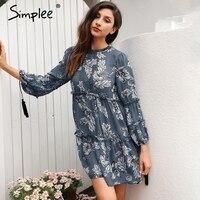 Simplee Boho Floral Print Tassel Women Dress Autumn Winter Long Sleeve Ruffle Chiffon Dress Vintage Loose