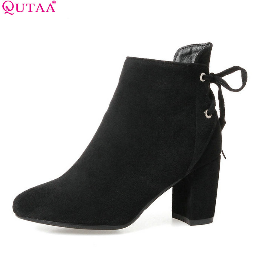 QUTAA 2018 Women Shoes Square High Heel Zipper Ankle Boots Round Toe All Match Solid Khaki Ladies Motorcycle Boots Size 34-43 qutaa 2018 women ankle boots square high heel pointed toe zipper all match women shoes ladies motorcycle boots size 34 43