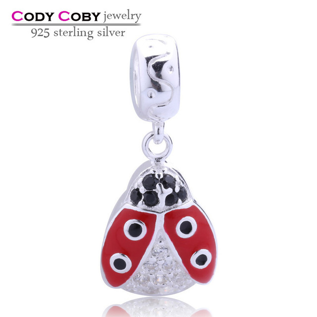 Dung beetle floating charms 925 sterling silver jewelry beads pendant with clear CZ & black crystal red enamel for bracelets