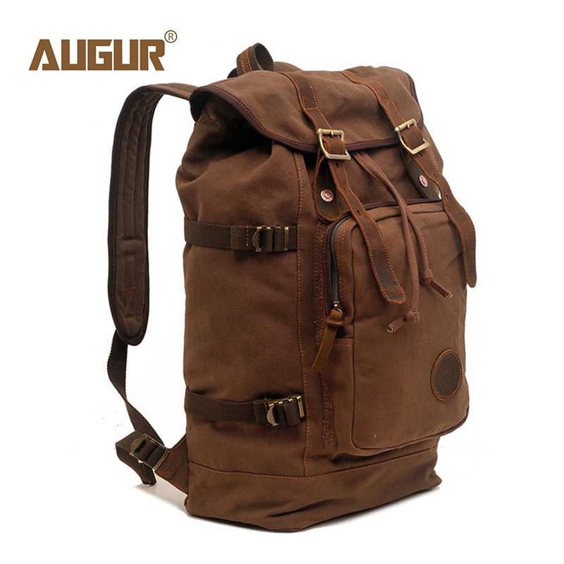 AUGUR Backpack Drawstring Back Bag Men'S Women 17 Inch Large Capacity Canvas Fashion Laptop Backpacks Travel Rucksack Boy Girls