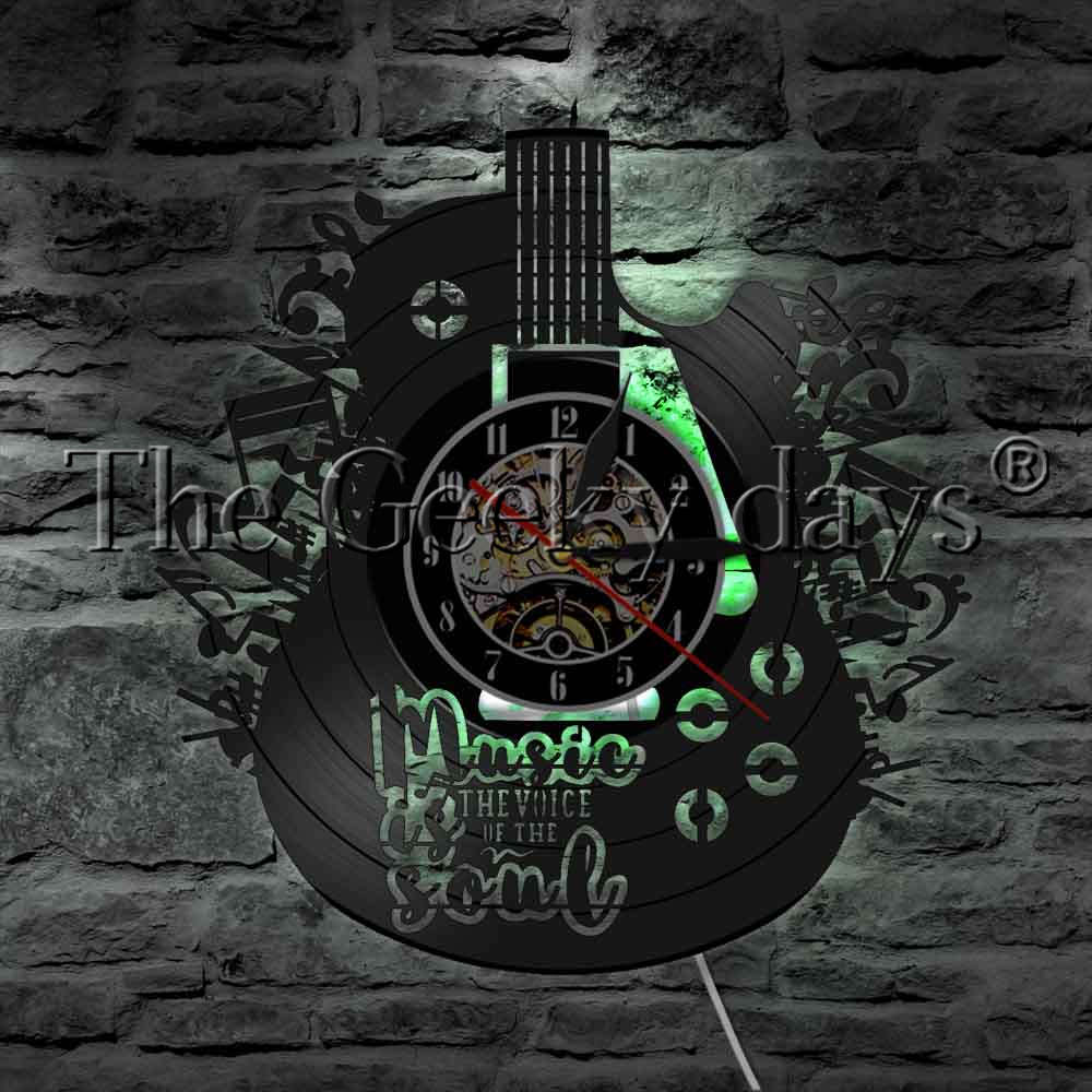 1Piece Muisc Is The Voice In The Soul Home Decor Wall Watch LED Hanging Lamp Guitar Musical Instrument Vinyl Record Wall Clock
