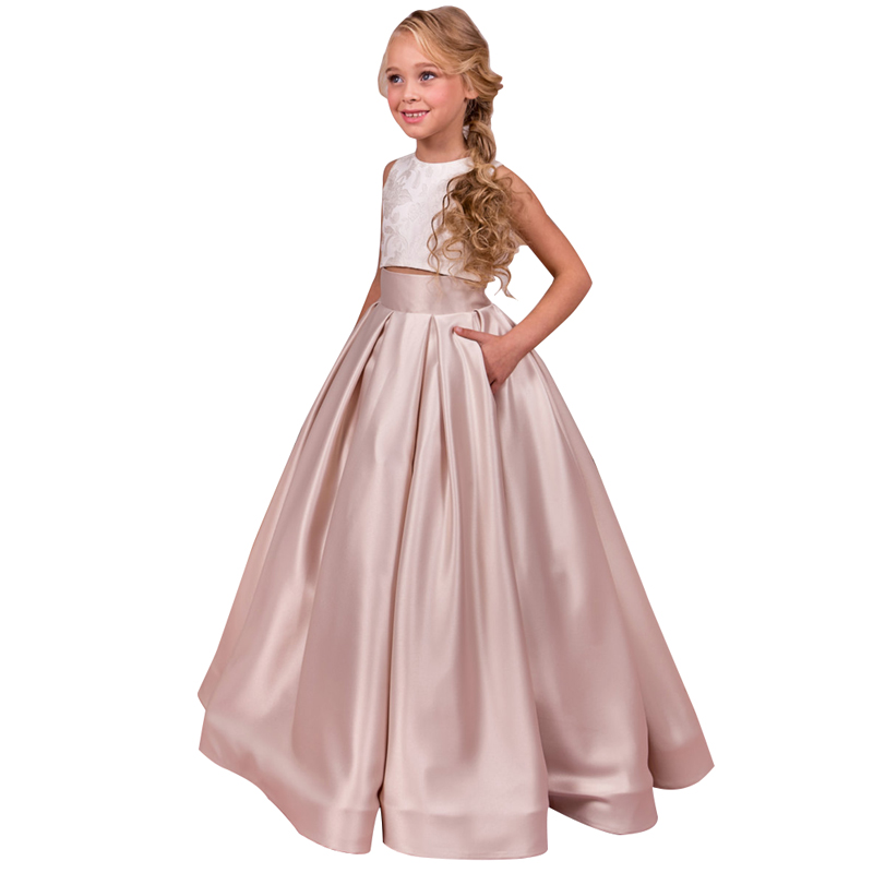 two piece children girls dress 2-12 years party dress fantasia infantil para menina kids ball gowns long little girls prom dress underwire two piece flounce corset dress