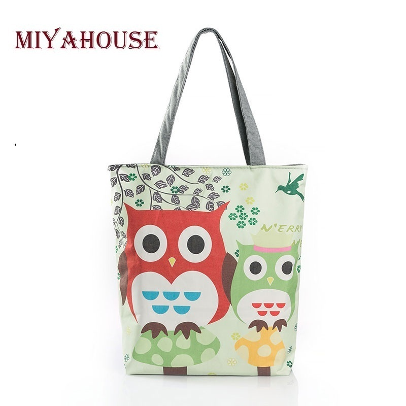 Sale Lovely Owl Design Canvas Tote Cute Shoulder Bags Summer Style Beach Bag For Female Casual Shopping Bag