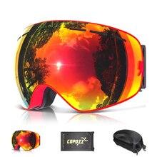 COPOZZ Gafas de Esquí con Caja de la Caja y Bolsa de Doble Lente Anti-vaho Antiparras Esférica de Esqui Snowboard del Esquí de la Nieve gafas