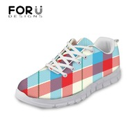 FORUDESIGNS Flats Shoes Woman 3D Solid Lattice Printed Women S Casual Flat Shoes Spring Lace Up