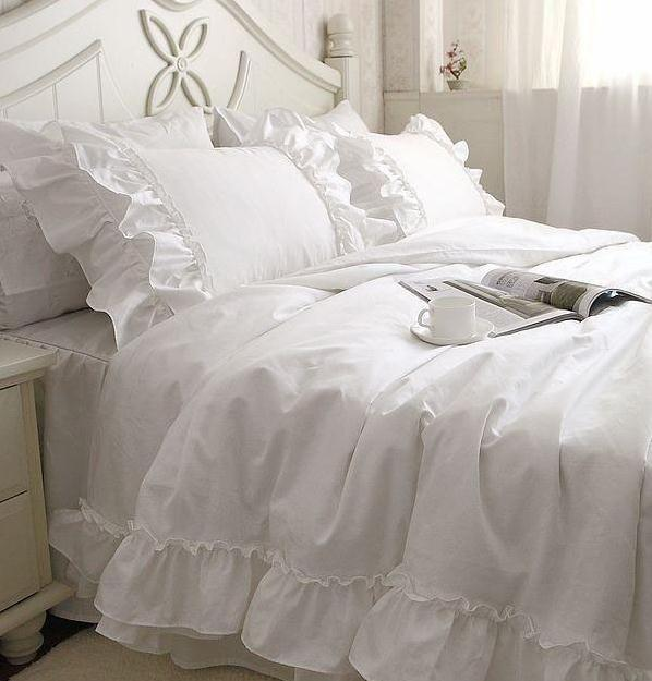 White Falbala Ruffle Lace Bedding Sets Princess Duvet Cover Set Solid Color Comforter