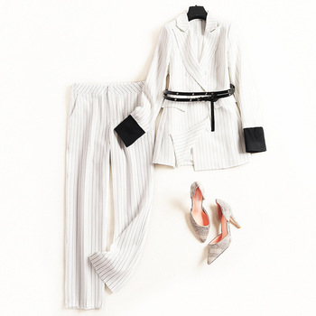 Women's suit fashion spring and autumn striped double-breasted women's suit two-piece suit (jacket + pants) women's casual suit