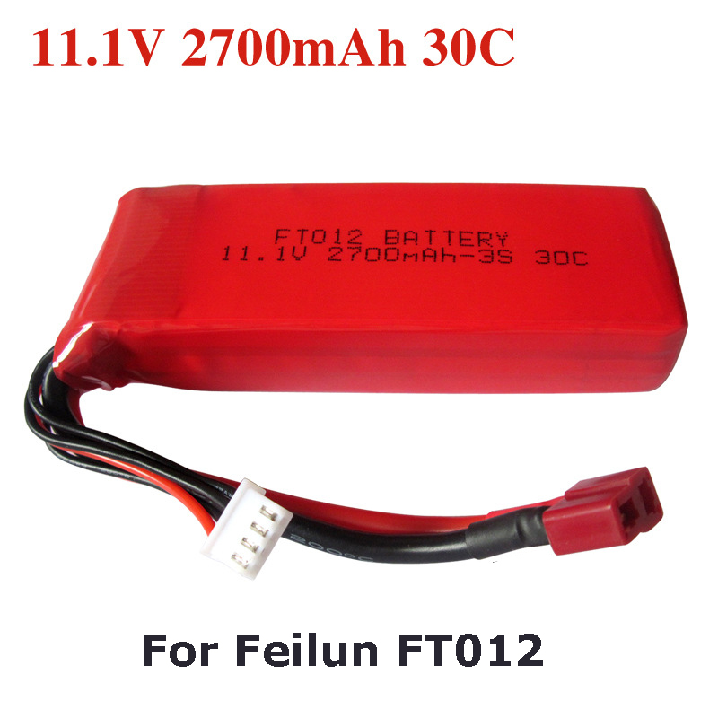 Upgraded High Capacity 11.1V 2700mAh Replacement Li-po Battery for Feilun FT012 RC Boat Spare Parts ft007 01 hull remote control boat spare parts for feilun ft007