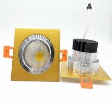 Лидер продаж 10 Вт теплый холодный белый Светодиодный с квадратной cob-матрицей Светильник направленного света Встраиваемые золото корпус затемнения светодиодный потолочный светильник AC110V/AC220V/AC230V
