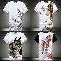 Envío libre más el tamaño XXL XXXL 4xl 5xl ropa de estilo Chino de los hombres de impresión camiseta de manga corta marca delgado o-cuello de la media manga