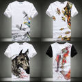 Free shipping plus size XXL XXXL 4xl 5xl Chinese style men's clothing print t-shirt short-sleeve brand slim o-neck half sleeve