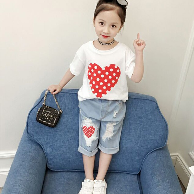 Fashion Baby Girl T-shirt Set Cotton Heart Print Shirt+hole Denim Cropped Trousers Casual Polka Dot Children Clothing Set drawstring color block graphic print cropped joggers