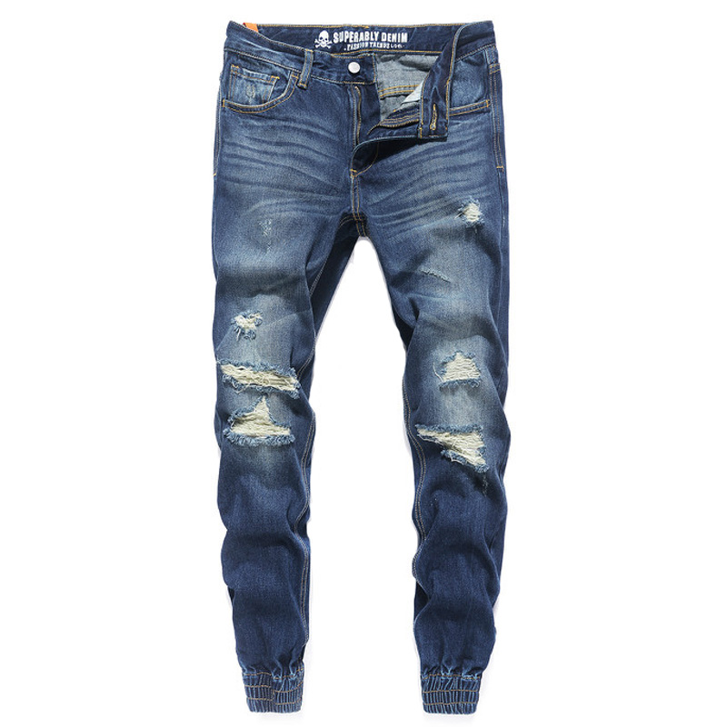 Fashion Streetwear Mens Jeans Blue Color Frayed Hole Ripped Jeans Men Jogger Pants Slim Fit Leg Open Ankle Banded Jeans Trousers одеяла dream time одеяло легкое 140 105 см