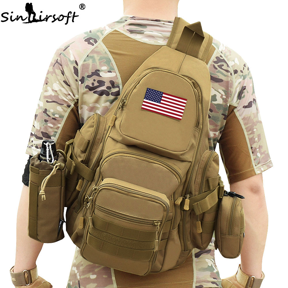 SINAIRSOFT 14 inch Laptop Molle Military backpack Nylon Sports Bag Camping Hiking Waterproof Men Travel Tactical Backpack LY0076 famous brand 40l outdoor sports military molle tactical travel backpack bags for walking and hiking camping backpacks bag