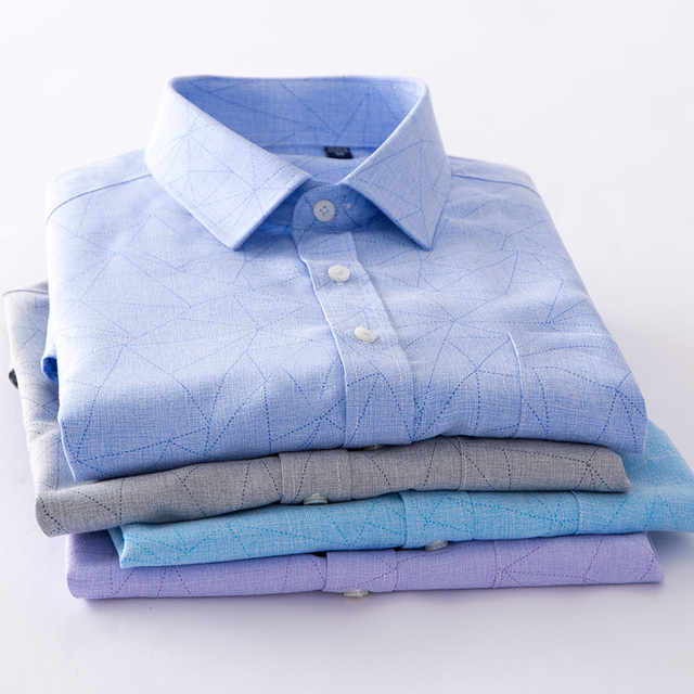 2018 Men shirt short sleeve regular Business Imitation linen New Arrive Shirt Men Pocket Formal Button Down Working Clothe 1