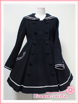Hot Sale Cute Wool Hooded Sailor Lolita Coat Girls Winter Coats ...