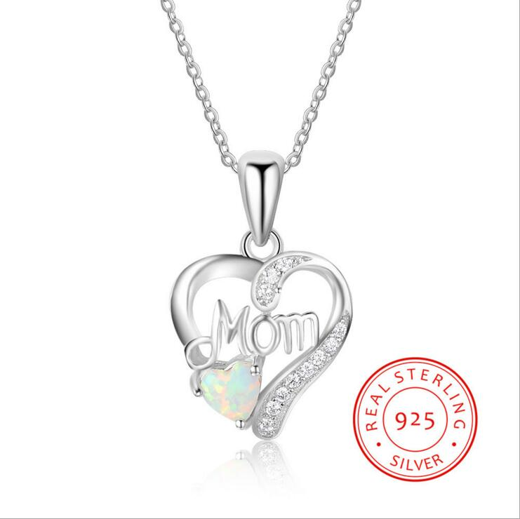 Pure Silver Mom Pendant Jewelry Opal Heart Pendant Necklace 925 Sterling Neckalce for Mom Gift Mother's Day Gift YLQ0655