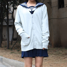 Japan school sweater Spring and autumn 100 V neck cotton knitted sweater JK uniforms cardigan multicolor