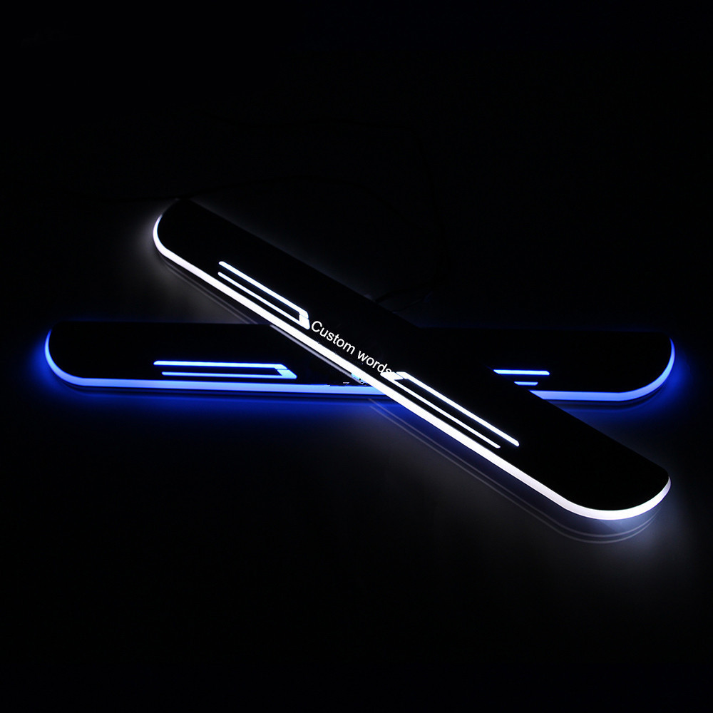 ФОТО 2X LED  custom Moving  Slim Door sill scuff plate light Car accessories  for Chevy  Cruze from 2014 to 2015