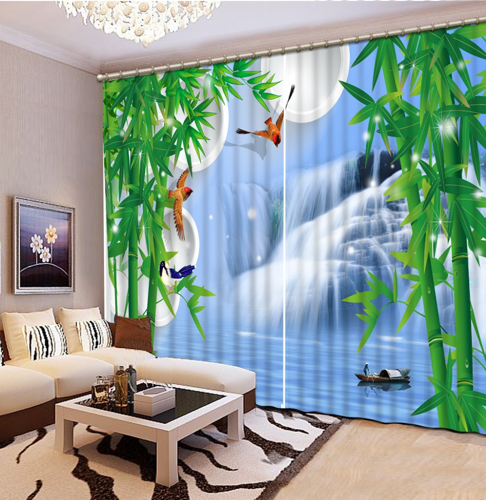 Fashion 3d Home Decor Photo Customize Size Waterfall Bamboo Fashion Decor Home Decoration For