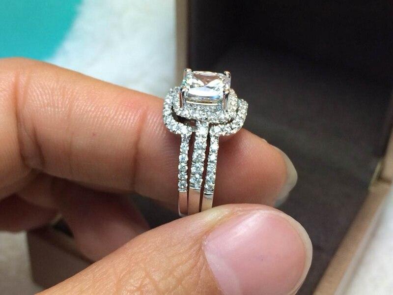 aliexpresscom buy hot luxury new bridal set wedding rings sets 3 carat g h cushion princess cut best quality nscd synthetic diamond 3pc ring sets from - 3 Carat Wedding Ring