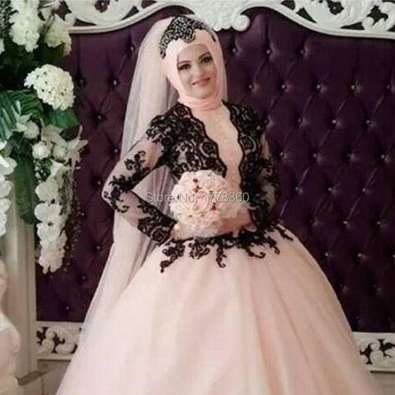 Black Lace Pink Long Sleeve Hijab Evening Dresses White Dubai Muslim kaftan Formal  Evening Gowns Dress Robe De Soiree l1617-in Evening Dresses from Weddings  ... 4740dc541807