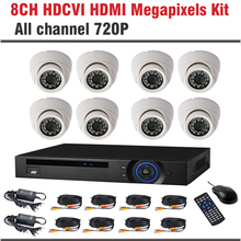 2017 New HDCVI System 720P 1.0MP 8CH Dome Surveillance Security Camera CCTV 8 Channel CCTV Kit Security Camera System
